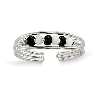 925 Sterling Silver Solid Black and White Beaded Toe Ring Jewely Gifts for Women - .6 Grams