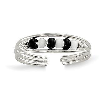 925 ασημένια στερεά μαύρα και άσπρα διακοσμημένα με χάντρες δώρα κοσμήματος δαχτυλιδιών toe για τις γυναίκες-. 6 γραμμάρια
