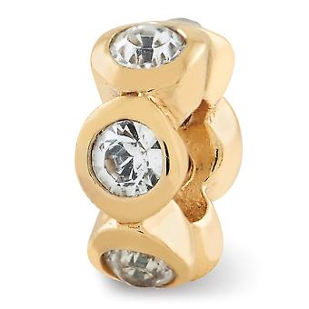 925 Sterling Silber poliert Gold-Flashed Reflexionen April Kristall Perle Charme