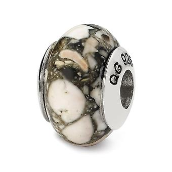 925 Sterling Silver polerad antik finish Reflektioner Vit Mosaik Magnesite Stone Pärla Charm Hängande Halsband Smycken