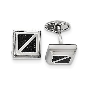 Stainless Steel Polished With Black Carbon Fiber Square Cuff Links Jewelry Gifts for Men