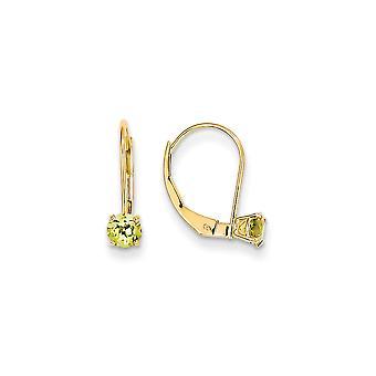 14k Yellow Gold gepolijst 4 mm ronde augustus Peridot Leverback Oorbellen