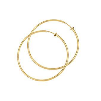 Eternal Collection Hoopla 30mm Gold Tone Clip On Hoop Earrings