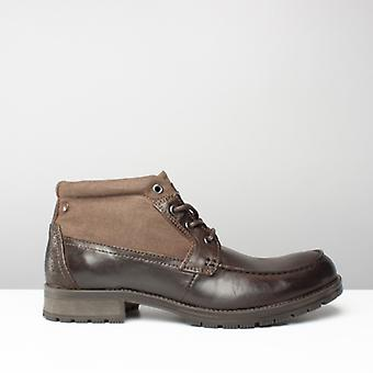 Jack & Jones Jfwforest Mid Mens Leather Lace Up Mid Top Boots Brown Stone