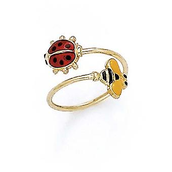 14k Yellow Gold Bee and Ladybug Enamel Toe Ring Jewelry Gifts for Women - 1.0 Grams