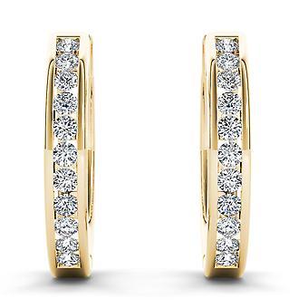 Igi certified solid 10k yellow gold 0.33 ct natural diamond hoop earrings