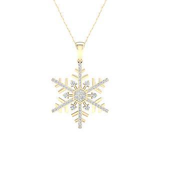 Igi gecertificeerd keizerlijke 1/6ct tdw diamant 10k geel gouden sneeuwvlok hanger ketting (h-i, i2)