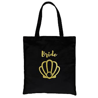 Bride Seashell-GOLD Black Canvas Shoulder Bag Cheerful Bright Gift