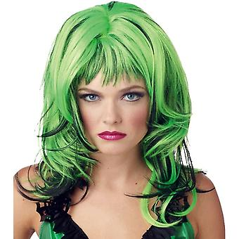 Hard Rockin Witch Wig Black Green