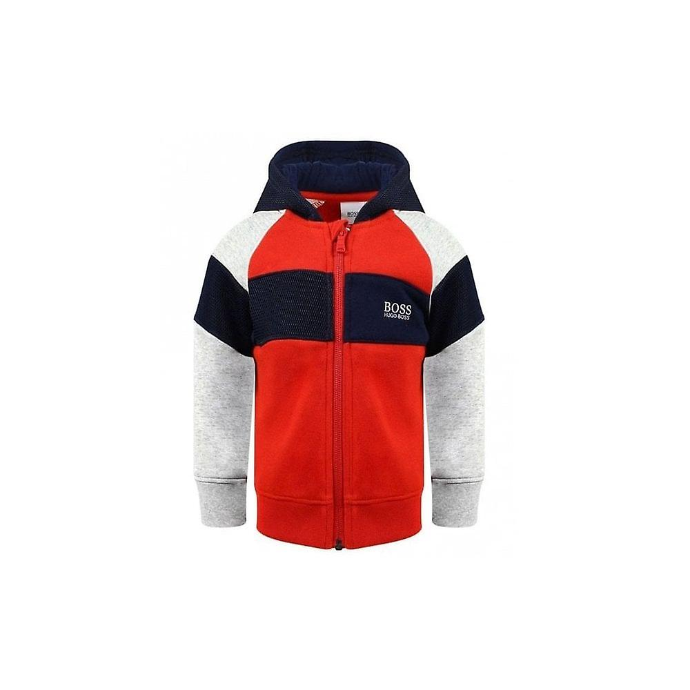 Hugo Boss Boys Hugo Boss Infant Boys Red, Grey And Navy Mesh Panelled Style Hooded Jacket