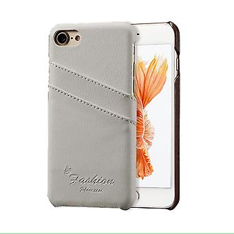 IPhone SE (2020), 8 & 7 tapauksessa, muoti tyylikäs käsintehty aito lychee nahkakansi, valkoinen