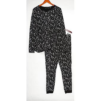 Iedereen Women's Pyjama Set Tall Cozy Knit Waffle Geprint Zwarte A345789