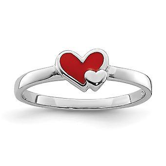 925 Sterling Silver Rhodium belagt for gutter eller jenter Enameled Red Love Heart Ring - Ring Størrelse: 3 til 4