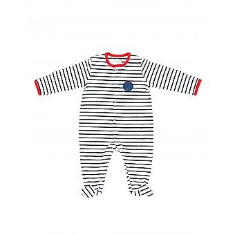 The Essential One Baby Boys Sleepsuit In White And Navy Stripe