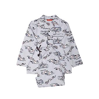 Minijammies 6468 Boy's Jackson Grey Racing Car Print Cotton Woven Pyjama Set