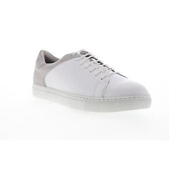 Zanzara Cue  Mens White Leather Lace Up Low Top Sneakers Shoes
