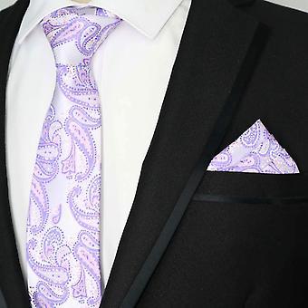 ラベンダー パープル ・ ライラック ペーズリー ネクタイ ・ ポケットの正方形セット
