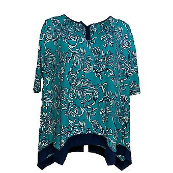 Carole Hochman Women's Pajama Top French Scrolls Sueded Green A346802
