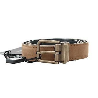 Dolce & Gabbana Brown Suede Leather Gold Brushed Buckle Belt