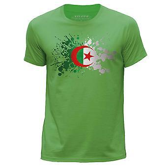 STUFF4 Herren Runde Hals T-Shirt/Algerien/algerische Flagge Splat/grün