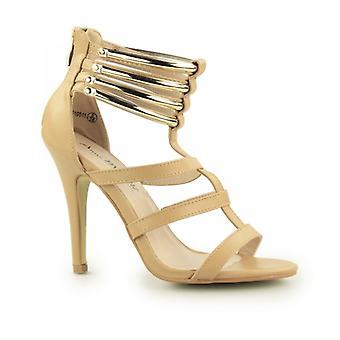 Anne Michelle Judith dames zip omhoog hoge hak schoenen Camel