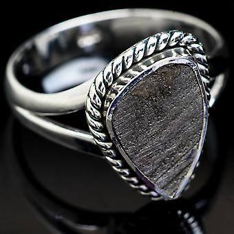 Meteorite Ring Size 7.25 (925 Sterling Silver)  - Handmade Boho Vintage Jewelry RING3689