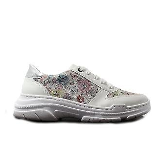 Rieker 57025-80 White/Floral Print Leather Womens Casual Trainers