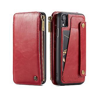 Per iPhone XR Custodia in pelle rossa staccabile,Slot per carte