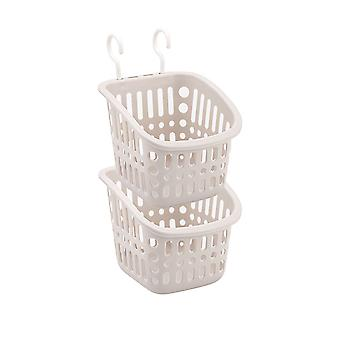 Square plastic double hook type storage basket, Plastic hanging storage basket 2pcs