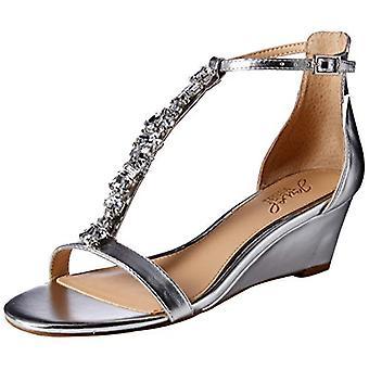 Jewel Badgley Mischka Women's DARRELL Sandal, prata/metálica, 5,5 M US