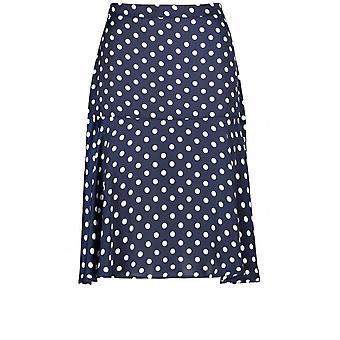 Taifun Navy & White Spot Print Skirt
