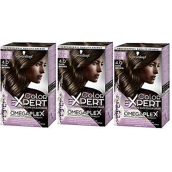 3 x Schwarzkopf Color Expert Omegaplex Hair Dye - 4.0 Dark Brown