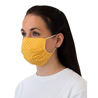 Mio HB4 Máscara facial de algodão polka amarelo e branco com fio de nariz removível