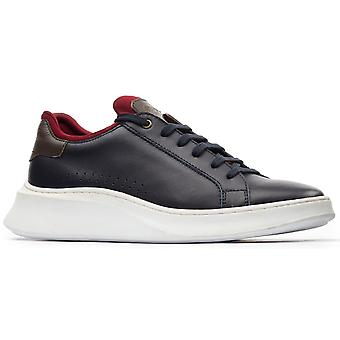 Basis London Mens Crescent Waxy Lace Up Trainer Navy / Khaki