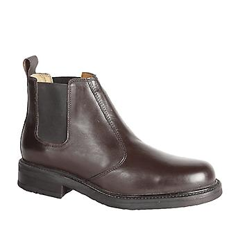 Roamers Oliver Mens Twin Gusset weiches Leder Chelsea Stiefel braun