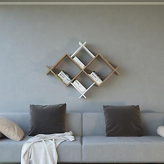Mensola Oslo Color Legno Naturale, Bianco in Truciolare Melaminico 75,4x22x85 cm