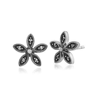 Floral Round Marcasite Flower Stud Earrings in 925 Sterling Silver 214E645801925