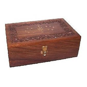 Aromatherapy Carved Box with Brass Inlay