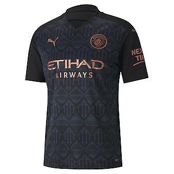Puma Manchester City 2020/21 Mens Short Sleeve Away Calcio Camicia Nero