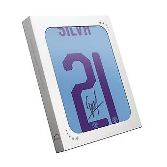David Silva Signed Manchester City 2019-20 Home Shirt: European Print. In Gift Box