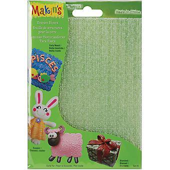 "Makin's Clay Texture Sheets 7""X5.5"" 4/Pkg-Set E (Curly Beard,Sweater,Diamond&Fur)"