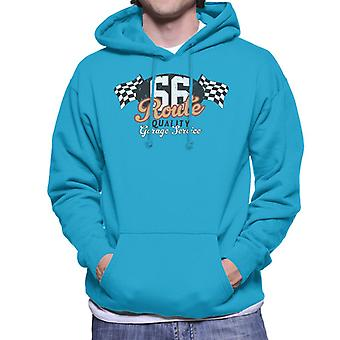Route 66 Garage Services Racing Flag Men's Hooded Sweatshirt