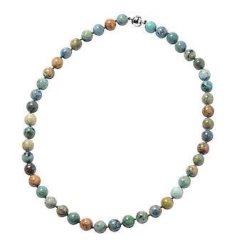 Chrysocolla Perle Strand halskæde Kvinder Sterling Sølv Størrelse 20