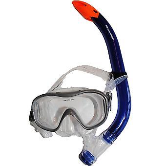 Masca de scufundare + snorkel jr gri/rosu