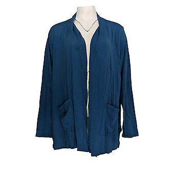 LOGO door Lori Goldstein Women's Sweater Open-Front Cardigan Blue A345358