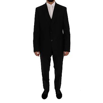 Dolce & Gabbana musta villa slim fit 3-osainen puku SIG60302-1