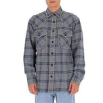 Dries Van Noten 207231266506 Men'camisa de algodão cinza