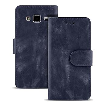 Samsung Galaxy J3 Vintage Wallet Magnetic Lock Stylish Card Compartment Synthetic Leather Navy Blue