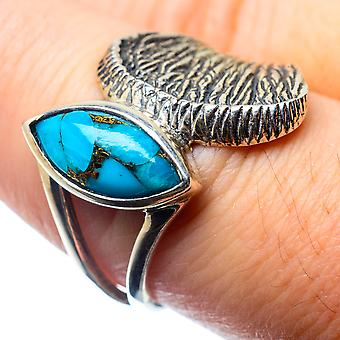 Blue Copper Composite Turquoise Ring Size 8 (925 Sterling Silver)  - Handmade Boho Vintage Jewelry RING26371