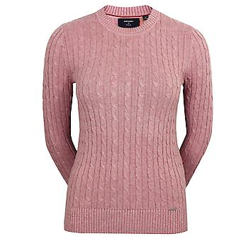 Superdry women's croyde cable crew pink jumper